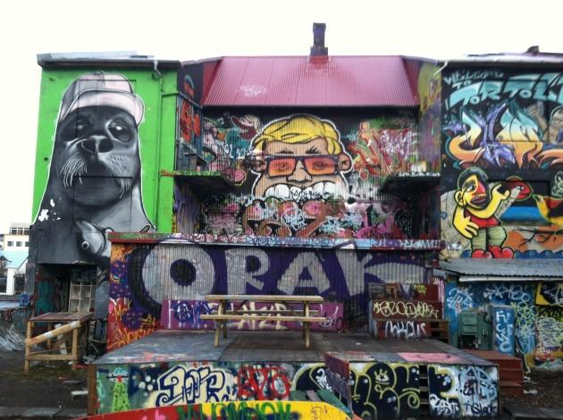 Street art at a skate park in Reykjavik.