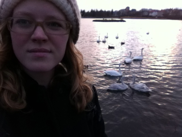 Your Truly with the swans at Tjörnin Lake in  Reykjavik