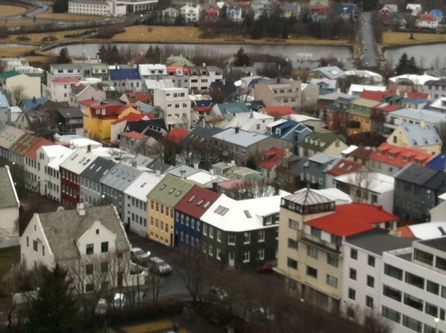 The colorful houses of Reykjavik seen from the bell tower of Hallgrimskirkja [church].