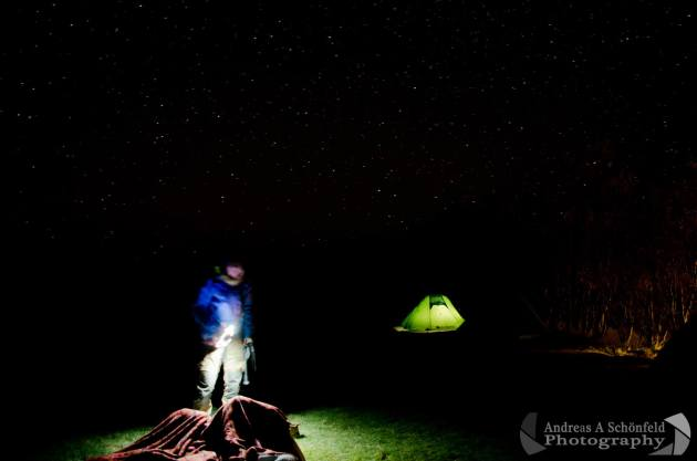 Night camping in Iceland