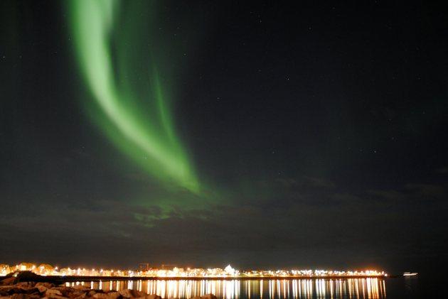 northern lights over Reykajvik, Iceland