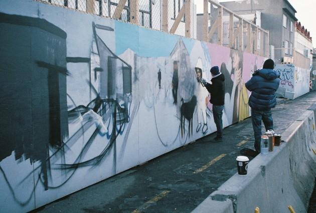 Street Artists at Work in Reykjavik, Iceland