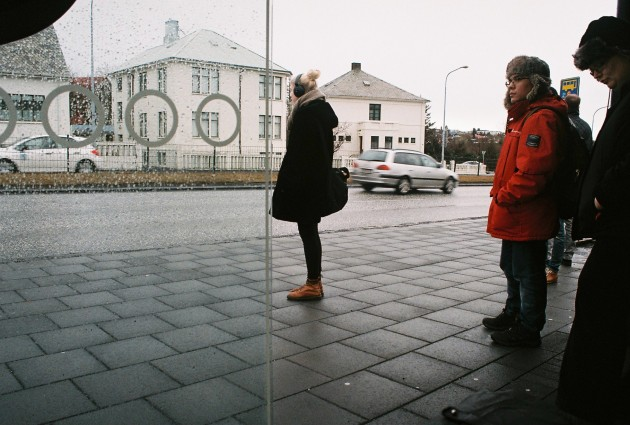 Waiting for the bus in Reykjavik, Iceland