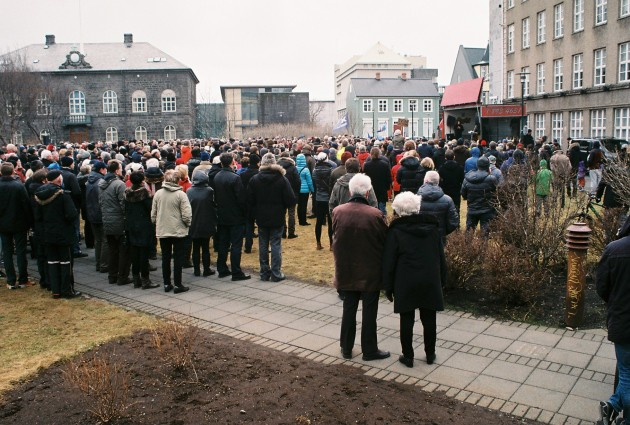 Protests in Reykjavik, Iceland